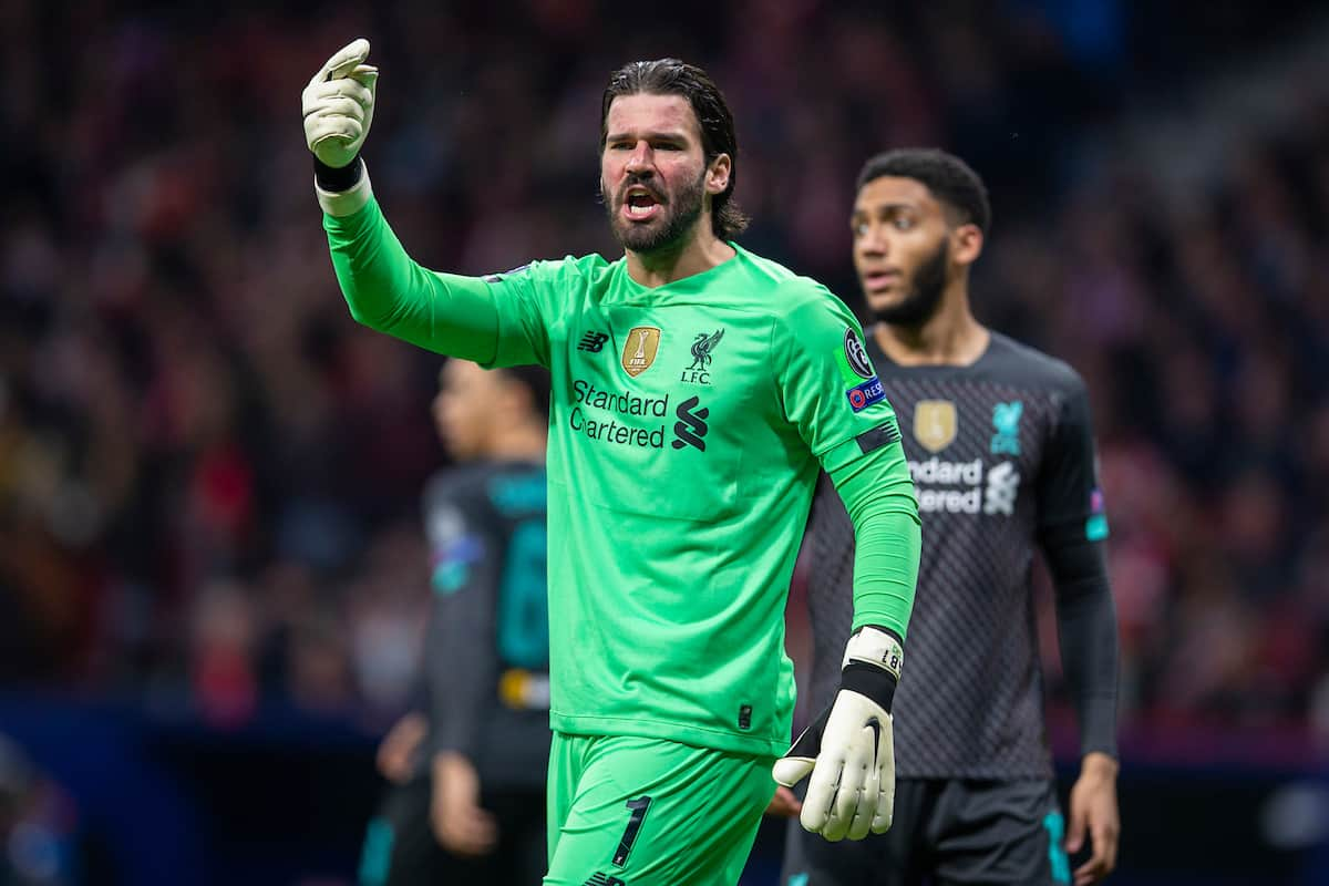 MADRID, SPAIN - Tuesday, February 18, 2020: Liverpool's goalkeeper Alisson Becker during the UEFA Champions League Round of 16 1st Leg match between Club Atlético de Madrid and Liverpool FC at the Estadio Metropolitano. (Pic by David Rawcliffe/Propaganda)