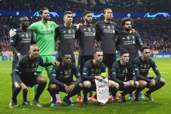 MADRID, SPAIN - Tuesday, February 18, 2020: Liverpool players line-up for a team group photograph before the UEFA Champions League Round of 16 1st Leg match between Club Atlético de Madrid and Liverpool FC at the Estadio Metropolitano. Back row L-R: Sadio Mané, goalkeeper Alisson Becker, Roberto Firmino, Joe Gomez, Virgil van Dijk, Mohamed Salah. Front row L-R: Fabio Henrique Tavares 'Fabinho', Georginio Wijnaldum, captain Jordan Henderson, Andy Robertson, Trent Alexander-Arnold. (Pic by David Rawcliffe/Propaganda)