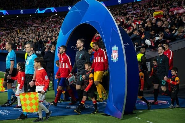 MADRID, SPAIN - Tuesday, February 18, 2020: Liverpool's captain Jordan Henderson leads his side out before the UEFA Champions League Round of 16 1st Leg match between Club Atlético de Madrid and Liverpool FC at the Estadio Metropolitano. (Pic by David Rawcliffe/Propaganda)