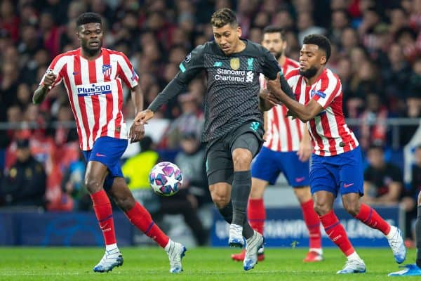 MADRID, SPAIN - Tuesday, February 18, 2020: Liverpool's Roberto Firmino during the UEFA Champions League Round of 16 1st Leg match between Club Atlético de Madrid and Liverpool FC at the Estadio Metropolitano. (Pic by David Rawcliffe/Propaganda)