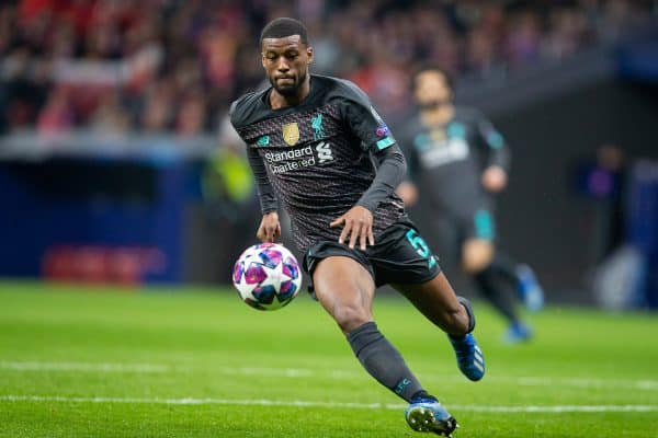 MADRID, SPAIN - Tuesday, February 18, 2020: Liverpool's Georginio Wijnaldum during the UEFA Champions League Round of 16 1st Leg match between Club Atlético de Madrid and Liverpool FC at the Estadio Metropolitano. (Pic by David Rawcliffe/Propaganda)