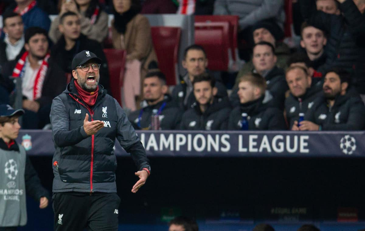 MADRID, SPAIN - Tuesday, February 18, 2020: Liverpool's manager Jürgen Klopp reacts during the UEFA Champions League Round of 16 1st Leg match between Club Atlético de Madrid and Liverpool FC at the Estadio Metropolitano. (Pic by David Rawcliffe/Propaganda)
