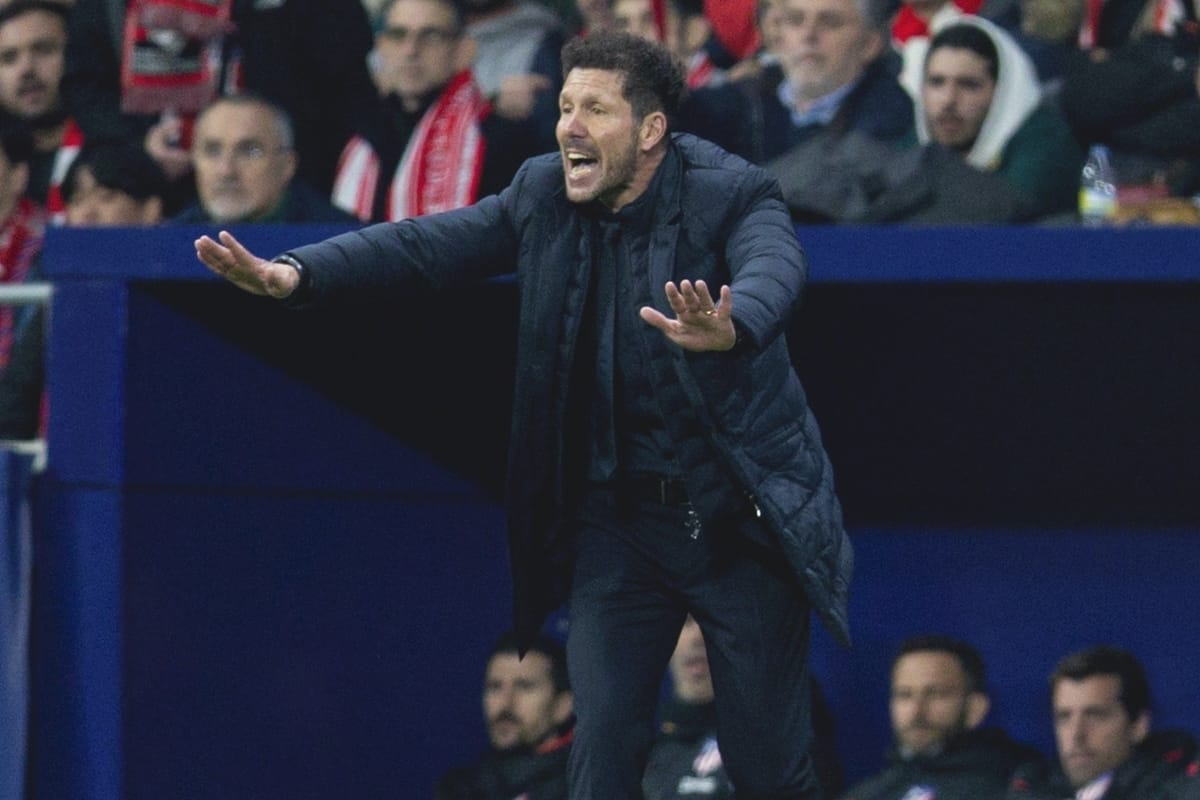 MADRID, SPAIN - Tuesday, February 18, 2020: Club Atlético de Madrid's head coach Diego Simeone reacts during the UEFA Champions League Round of 16 1st Leg match between Club Atlético de Madrid and Liverpool FC at the Estadio Metropolitano. (Pic by David Rawcliffe/Propaganda)
