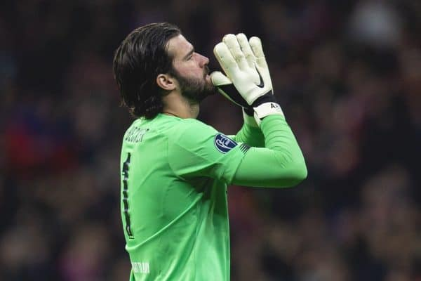 MADRID, SPAIN - Tuesday, February 18, 2020: Liverpool's goalkeeper Alisson Becker reacts during the UEFA Champions League Round of 16 1st Leg match between Club Atlético de Madrid and Liverpool FC at the Estadio Metropolitano. (Pic by David Rawcliffe/Propaganda)