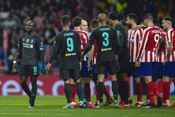 MADRID, SPAIN - Tuesday, February 18, 2020: Liverpool's Sadio Mané walks away as Club Atlético de Madrid players call for him to be sent off during the UEFA Champions League Round of 16 1st Leg match between Club Atlético de Madrid and Liverpool FC at the Estadio Metropolitano. (Pic by David Rawcliffe/Propaganda)