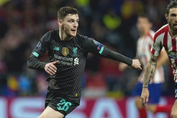 MADRID, SPAIN - Tuesday, February 18, 2020: Liverpool's Andy Robertson during the UEFA Champions League Round of 16 1st Leg match between Club Atlético de Madrid and Liverpool FC at the Estadio Metropolitano. (Pic by David Rawcliffe/Propaganda)