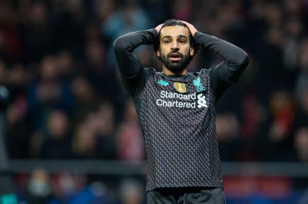 MADRID, SPAIN - Tuesday, February 18, 2020: Liverpool's Mohamed Salah looks dejected after missing a chance during the UEFA Champions League Round of 16 1st Leg match between Club Atlético de Madrid and Liverpool FC at the Estadio Metropolitano. (Pic by David Rawcliffe/Propaganda)