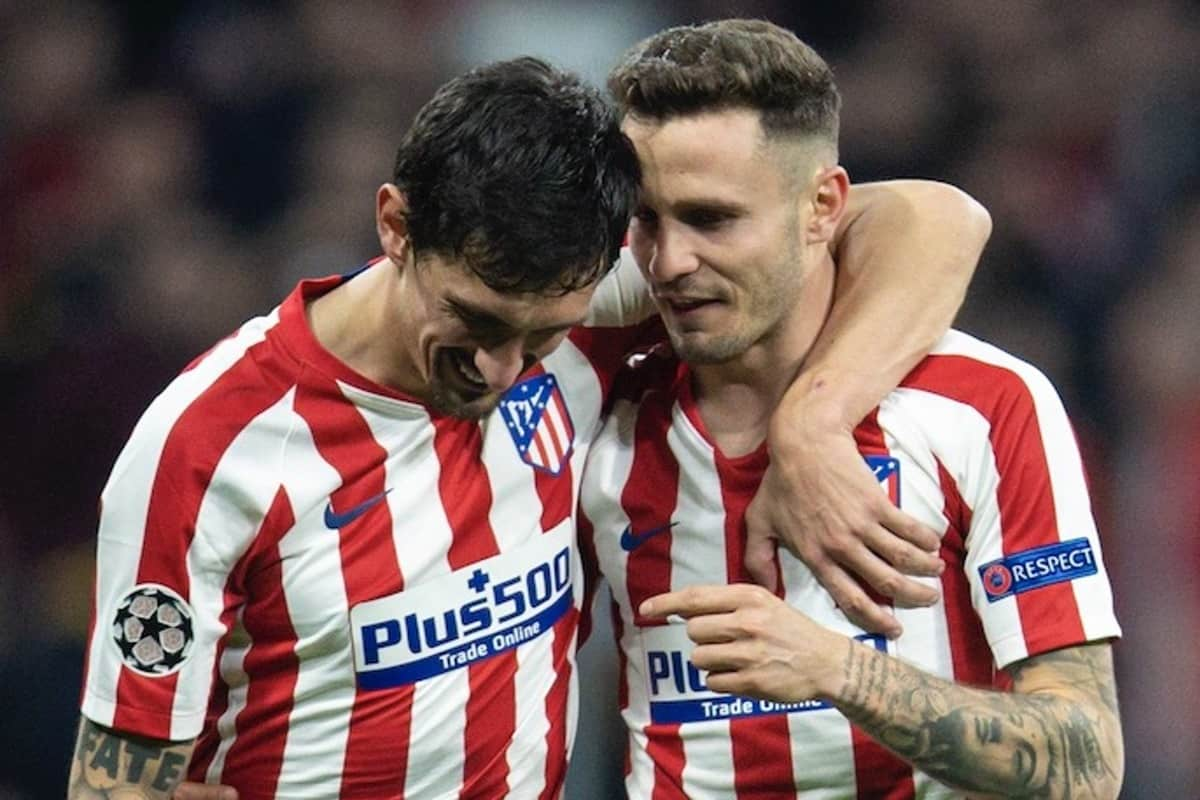 MADRID, SPAIN - Tuesday, February 18, 2020: Club Atlético de Madrid's goal-scorer Sau?l N?i?guez (R) celebrates with team-mate Stefan Savic? (L) after the UEFA Champions League Round of 16 1st Leg match between Club Atlético de Madrid and Liverpool FC at the Estadio Metropolitano. Club Atlético de Madrid won 1-0. (Pic by David Rawcliffe/Propaganda)