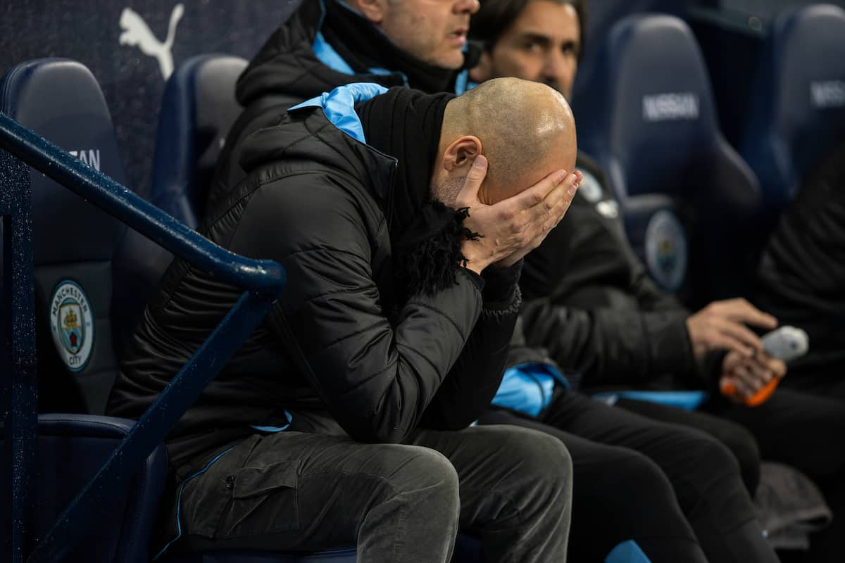 MANCHESTER, ENGLAND - Wednesday, February 19, 2020: Manchester City's manager Pep Guardiola on the bench before the FA Premier League match between Manchester City FC and West Ham United FC at the City of Manchester Stadium. (Pic by David Rawcliffe/Propaganda)
