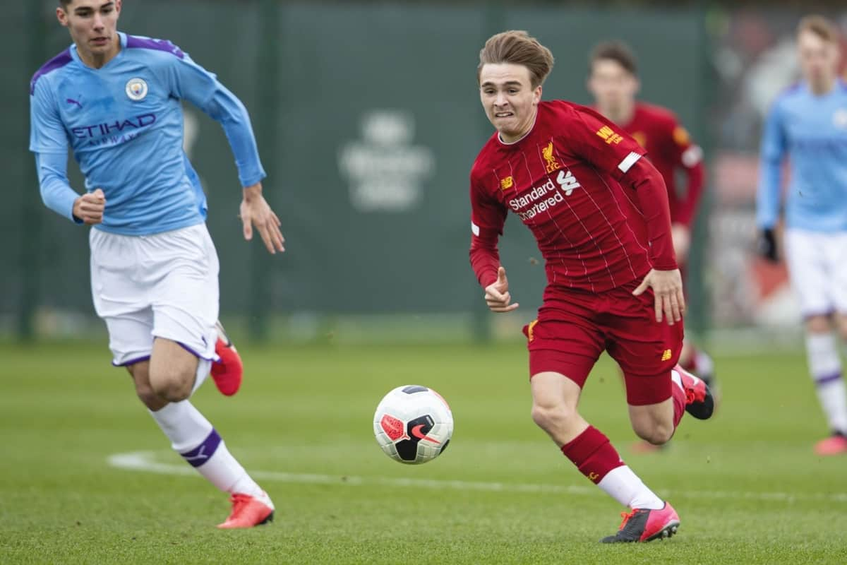 LIVERPOOL, ENGLAND - Saturday, February 22, 2020: Liverpool's James Norris during the Under-18 FA Premier League match between Liverpool FC and Manchester City FC at the Liverpool Academy. (Pic by David Rawcliffe/Propaganda)
