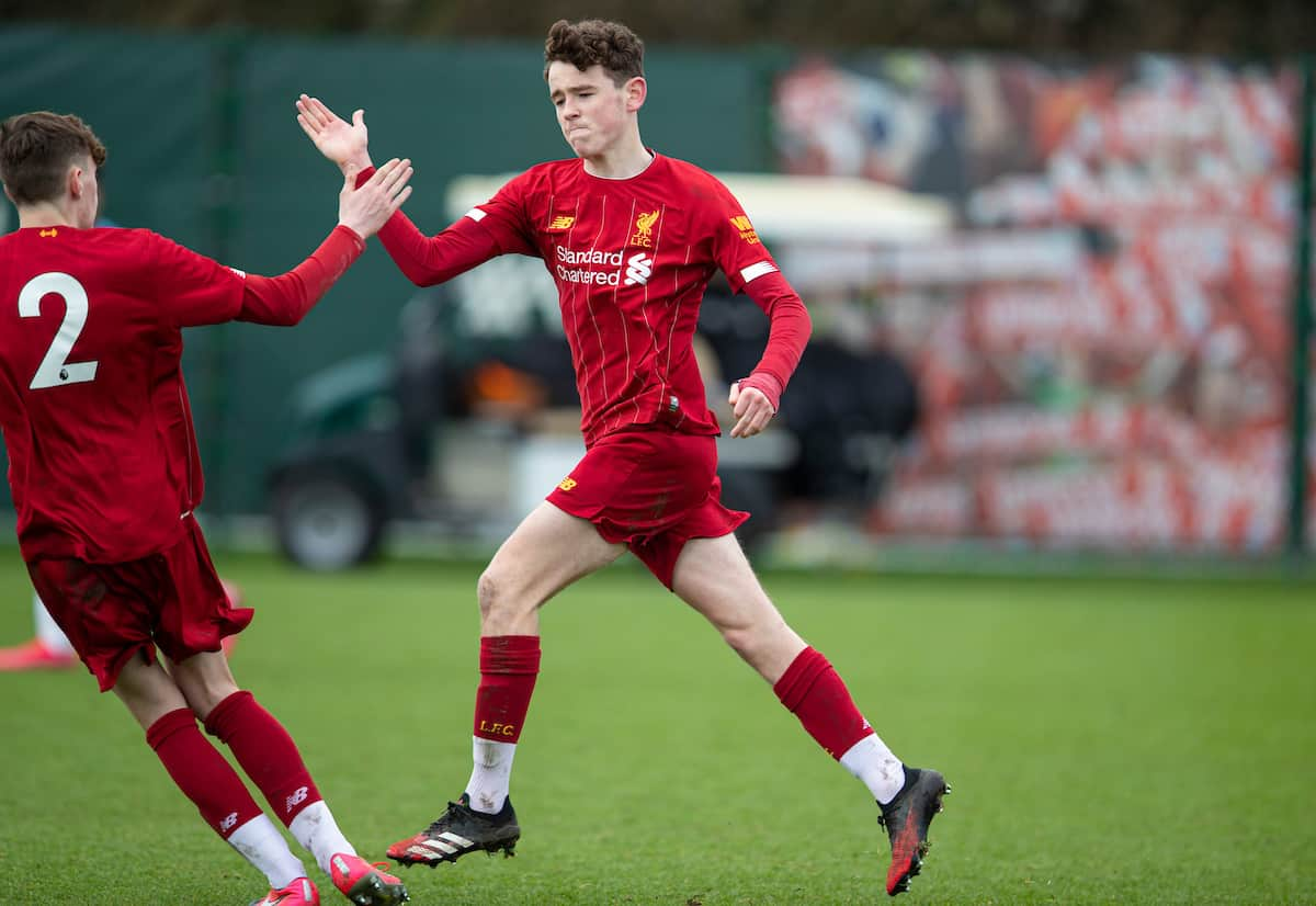 LIVERPOOL, ENGLAND - Saturday, February 22, 2020: Liverpool's Tom Hill celebrates after scoring his side's first goal during the Under-18 FA Premier League match between Liverpool FC and Manchester City FC at the Liverpool Academy. Liverpool lost 2-4. (Pic by David Rawcliffe/Propaganda)