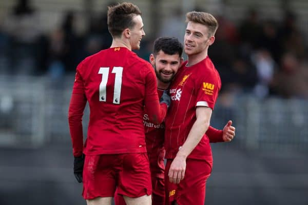 Liverpool's Joe Hardy (C) celebrates scoring the second goal with team-mates Liam Millar (L) and Tony Gallacher (R) during the Premier League Cup Group F match between Liverpool FC Under-23's and AFC Sunderland Under-23's at the Liverpool Academy. (Pic by David Rawcliffe/Propaganda)