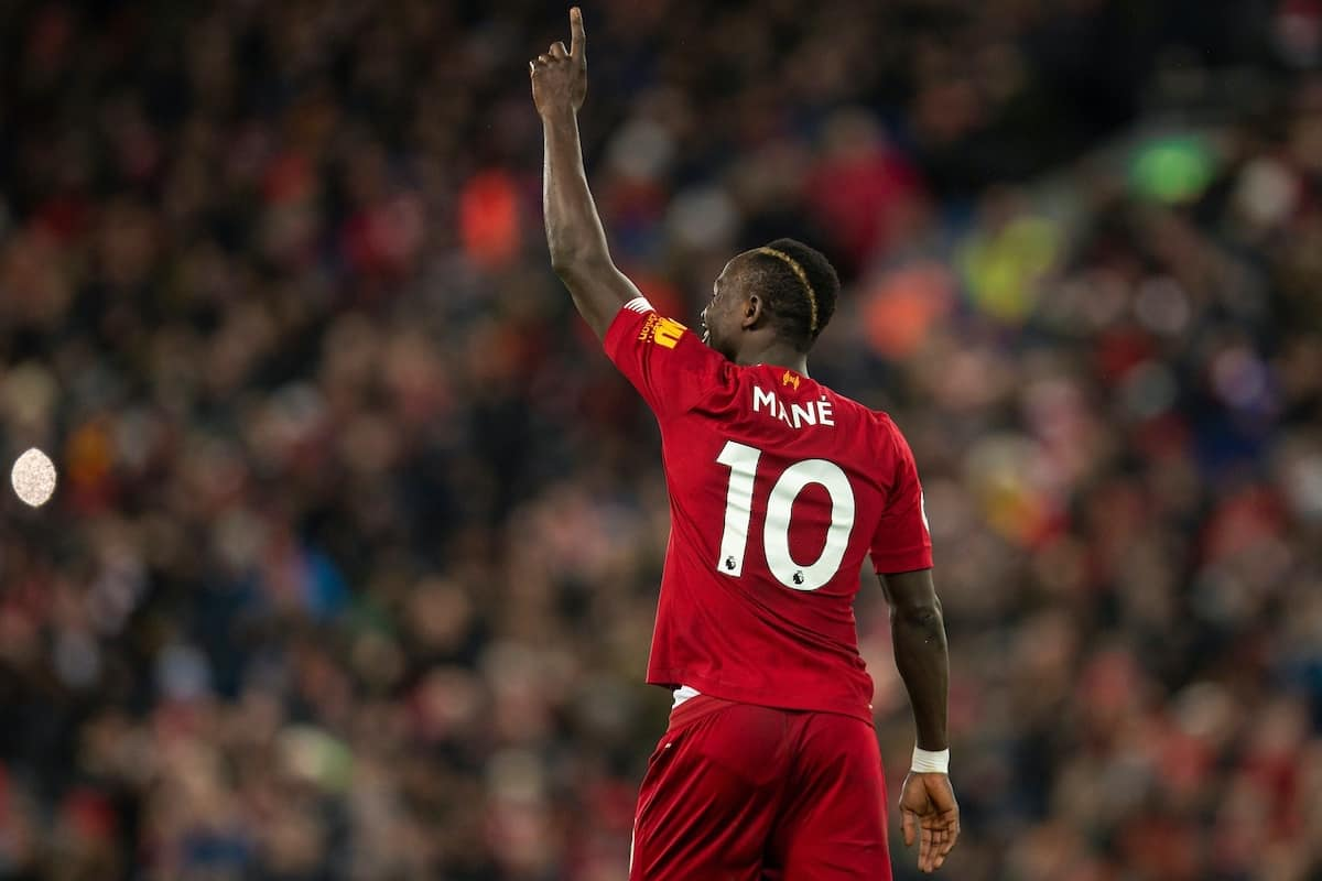 LIVERPOOL, ENGLAND - Monday, February 24, 2020: Liverpool's Sadio Mané celebrates scoring the third goal during the FA Premier League match between Liverpool FC and West Ham United FC at Anfield. (Pic by David Rawcliffe/Propaganda)