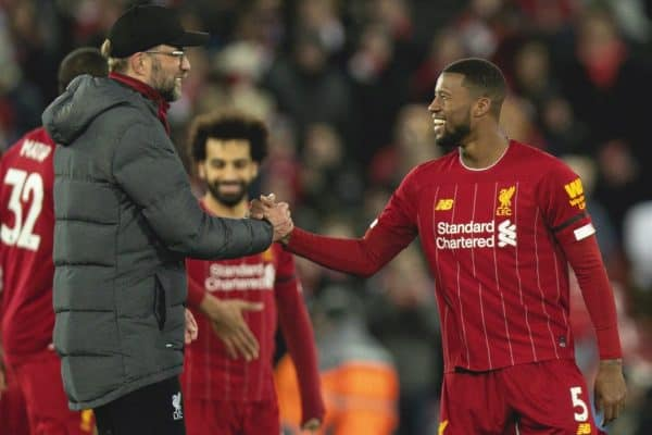 LIVERPOOL, ENGLAND - Monday, February 24, 2020: Liverpool's manager Jürgen Klopp celebrates with Georginio Wijnaldum after the FA Premier League match between Liverpool FC and West Ham United FC at Anfield. Liverpool won 3-2. (Pic by David Rawcliffe/Propaganda)