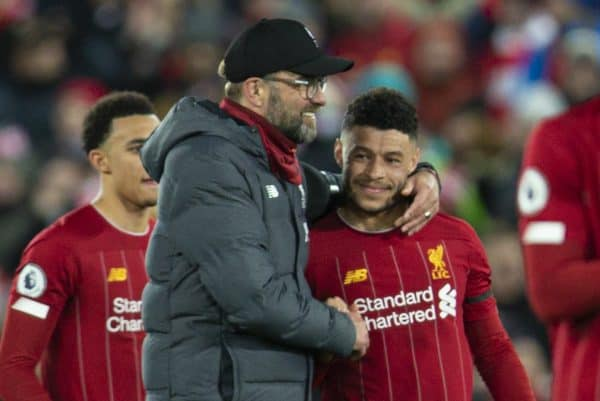 LIVERPOOL, ENGLAND - Monday, February 24, 2020: Liverpool's manager Jürgen Klopp celebrates with Alex Oxlade-Chamberlain after the FA Premier League match between Liverpool FC and West Ham United FC at Anfield. Liverpool won 3-2. (Pic by David Rawcliffe/Propaganda)