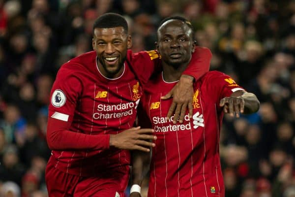 LIVERPOOL, ENGLAND - Monday, February 24, 2020: Liverpool's Sadio Mané celebrates with Georginio Wijnaldum during the FA Premier League match between Liverpool FC and West Ham United FC at Anfield. Liverpool won 3-2. (Pic by David Rawcliffe/Propaganda)