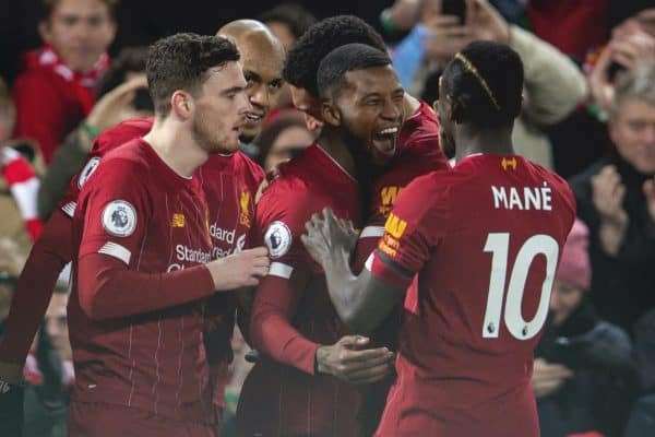 LIVERPOOL, ENGLAND - Monday, February 24, 2020: Liverpool's Georginio Wijnaldum (C) celebrates with team-mates after scoring the first goal during the FA Premier League match between Liverpool FC and West Ham United FC at Anfield. Liverpool won 3-2. (Pic by David Rawcliffe/Propaganda)