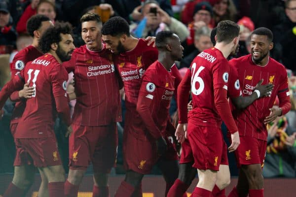 LIVERPOOL, ENGLAND - Monday, February 24, 2020: Liverpool's Georginio Wijnaldum (R) celebrates with team-mates after scoring the first goal during the FA Premier League match between Liverpool FC and West Ham United FC at Anfield. Liverpool won 3-2. (Pic by David Rawcliffe/Propaganda)