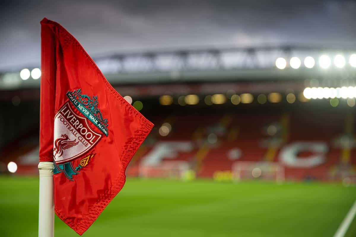 LIVERPOOL, ENGLAND - Monday, February 24, 2020: The Liverpool corner flag pictured before the FA Premier League match between Liverpool FC and West Ham United FC at Anfield. (Pic by David Rawcliffe/Propaganda)