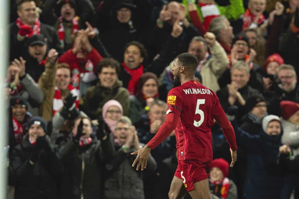 LIVERPOOL, ENGLAND - Monday, February 24, 2020: Liverpool's Georginio Wijnaldum during the FA Premier League match between Liverpool FC and West Ham United FC at Anfield. (Pic by David Rawcliffe/Propaganda)