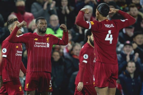 LIVERPOOL, ENGLAND - Monday, February 24, 2020: Liverpool's Georginio Wijnaldum (L) celebrates scoring the first goal with Virgil van Dijk during the FA Premier League match between Liverpool FC and West Ham United FC at Anfield. (Pic by David Rawcliffe/Propaganda)