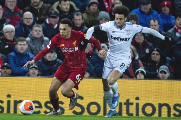 LIVERPOOL, ENGLAND - Monday, February 24, 2020: Liverpool's Trent Alexander-Arnold (L) and West Ham United's Felipe Anderson during the FA Premier League match between Liverpool FC and West Ham United FC at Anfield. (Pic by David Rawcliffe/Propaganda)