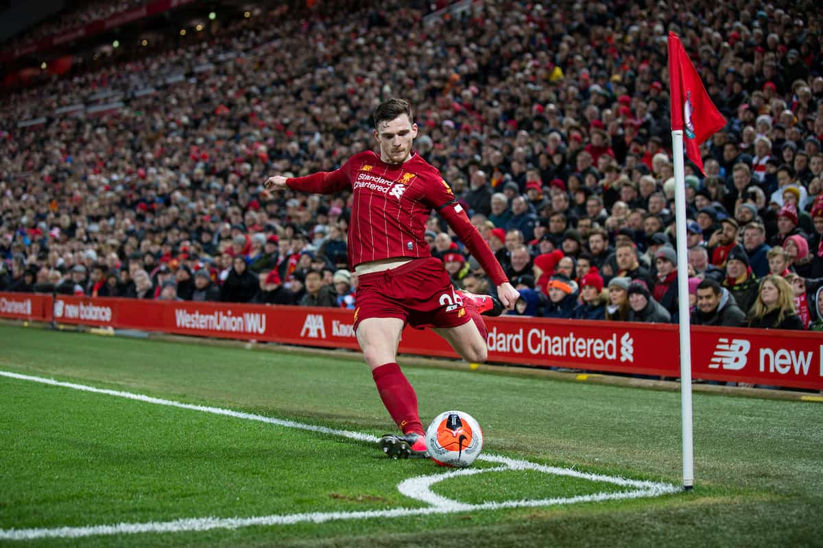 LIVERPOOL, ENGLAND - Monday, February 24, 2020: Liverpool's Andy Robertson takes a corner-kick during the FA Premier League match between Liverpool FC and West Ham United FC at Anfield. (Pic by David Rawcliffe/Propaganda)
