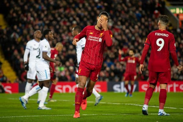 LIVERPOOL, ENGLAND - Monday, February 24, 2020: Liverpool's Virgil van Dijk looks dejected after missing a chance during the FA Premier League match between Liverpool FC and West Ham United FC at Anfield. (Pic by David Rawcliffe/Propaganda)