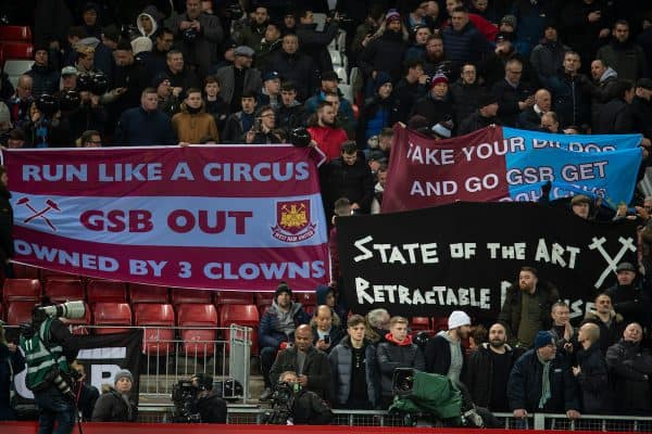 LIVERPOOL, ENGLAND - Monday, February 24, 2020: West Ham United supporters protest against their owners during the FA Premier League match between Liverpool FC and West Ham United FC at Anfield. (Pic by David Rawcliffe/Propaganda)