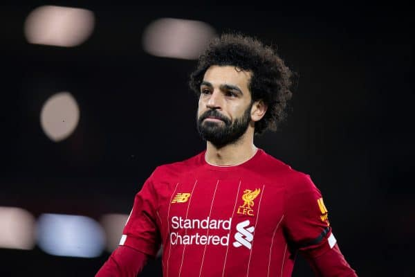 LIVERPOOL, ENGLAND - Monday, February 24, 2020: Liverpool's Mohamed Salah during the FA Premier League match between Liverpool FC and West Ham United FC at Anfield. (Pic by David Rawcliffe/Propaganda)