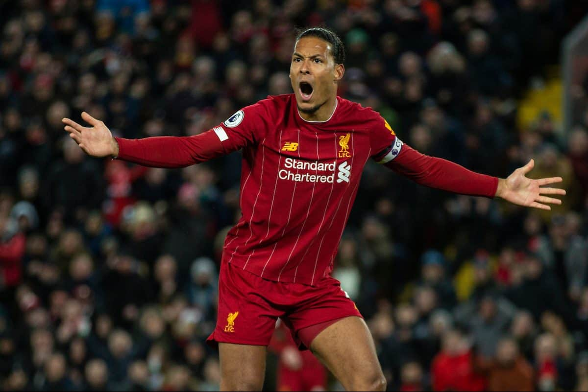 LIVERPOOL, ENGLAND - Monday, February 24, 2020: Liverpool's Virgil van Dijk reacts during the FA Premier League match between Liverpool FC and West Ham United FC at Anfield. (Pic by David Rawcliffe/Propaganda)