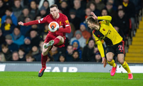 WATFORD, ENGLAND - Saturday, February 29, 2020: Liverpool's Andy Robertson during the FA Premier League match between Watford FC and Liverpool FC at Vicarage Road. (Pic by David Rawcliffe/Propaganda)