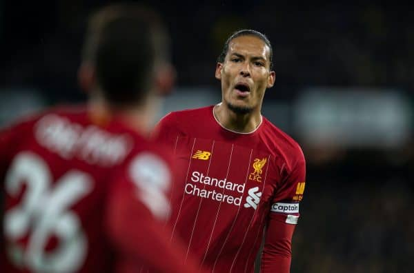 WATFORD, ENGLAND - Saturday, February 29, 2020: Liverpool's Virgil van Dijk during the FA Premier League match between Watford FC and Liverpool FC at Vicarage Road. (Pic by David Rawcliffe/Propaganda)