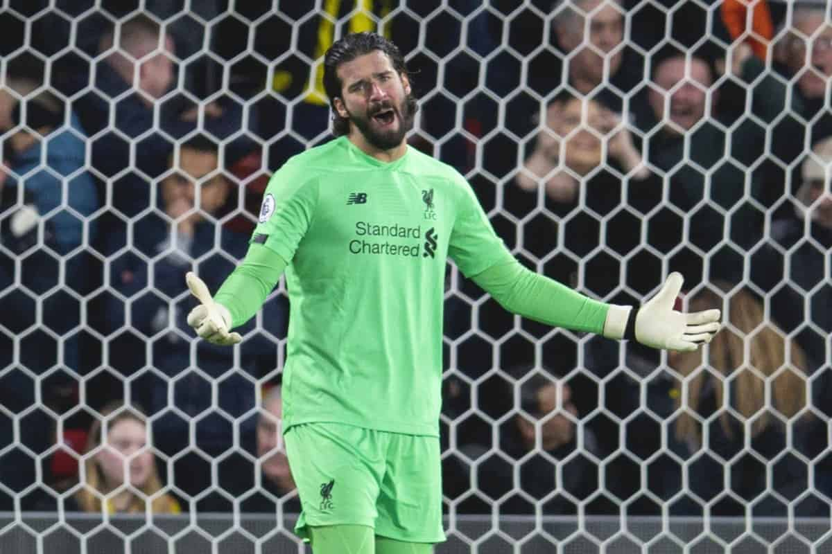 WATFORD, ENGLAND - Saturday, February 29, 2020: Liverpool's goalkeeper Alisson Becker looks dejected as Watford score the opening goal during the FA Premier League match between Watford FC and Liverpool FC at Vicarage Road. (Pic by David Rawcliffe/Propaganda)