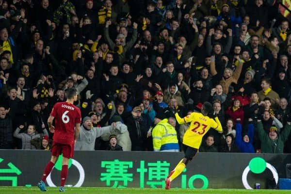 WATFORD, ENGLAND - Saturday, February 29, 2020: Watford's Ismaïla Sarr celebrates scoring the second goal during the FA Premier League match between Watford FC and Liverpool FC at Vicarage Road. (Pic by David Rawcliffe/Propaganda)