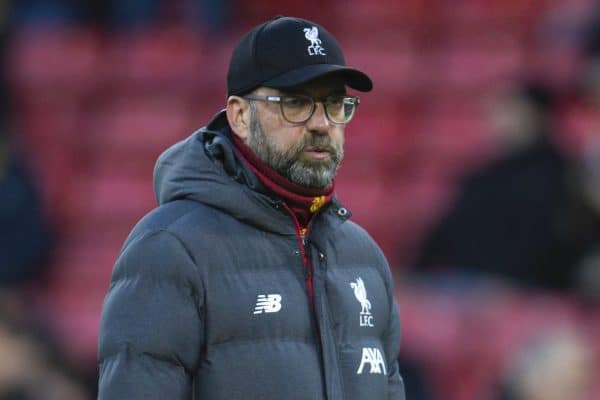 WATFORD, ENGLAND - Saturday, February 29, 2020: Liverpool's manager Jürgen Klopp during the pre-match warm-up before the FA Premier League match between Watford FC and Liverpool FC at Vicarage Road. (Pic by David Rawcliffe/Propaganda)
