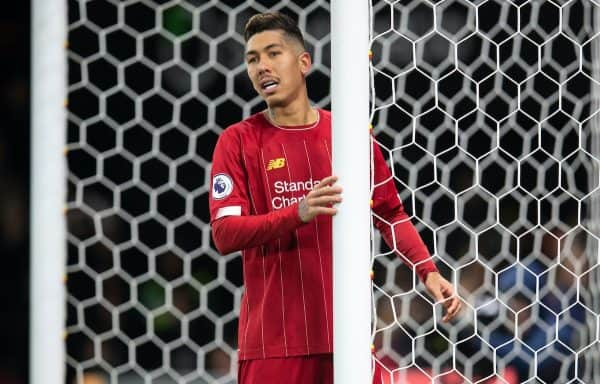 Liverpool's Roberto Firmino looks dejected during the FA Premier League match between Watford FC and Liverpool FC at Vicarage Road. (Pic by David Rawcliffe/Propaganda)