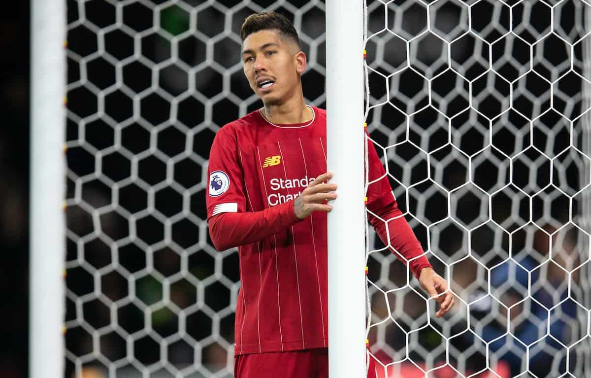 WATFORD, ENGLAND - Saturday, February 29, 2020: Liverpool's Roberto Firmino looks dejected during the FA Premier League match between Watford FC and Liverpool FC at Vicarage Road. (Pic by David Rawcliffe/Propaganda)