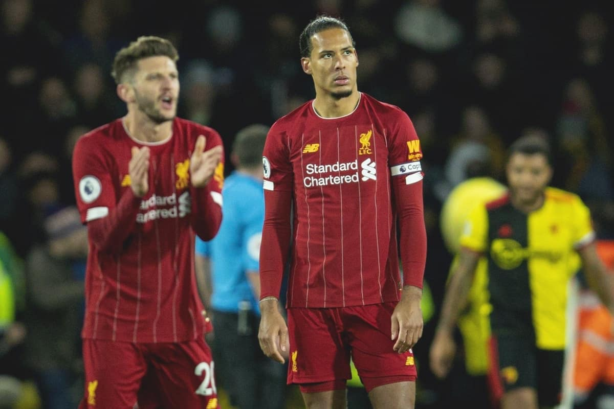 WATFORD, ENGLAND - Saturday, February 29, 2020: Liverpool's Virgil van Dijk looks dejected as Watford score the third goal during the FA Premier League match between Watford FC and Liverpool FC at Vicarage Road. (Pic by David Rawcliffe/Propaganda)