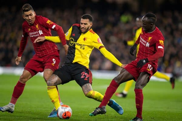 WATFORD, ENGLAND - Saturday, February 29, 2020: Liverpool's Roberto Firmino (L) and Sadio Mané challenge Watford's Étienne Capoue during the FA Premier League match between Watford FC and Liverpool FC at Vicarage Road. (Pic by David Rawcliffe/Propaganda)