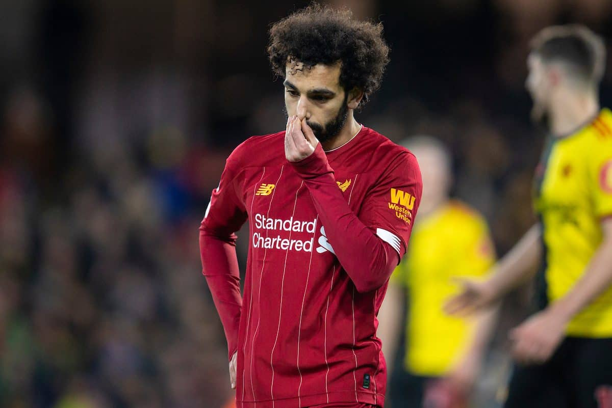 WATFORD, ENGLAND - Saturday, February 29, 2020: Liverpool's Mohamed Salah looks dejected as his side lose their first league game during the FA Premier League match between Watford FC and Liverpool FC at Vicarage Road. (Pic by David Rawcliffe/Propaganda)