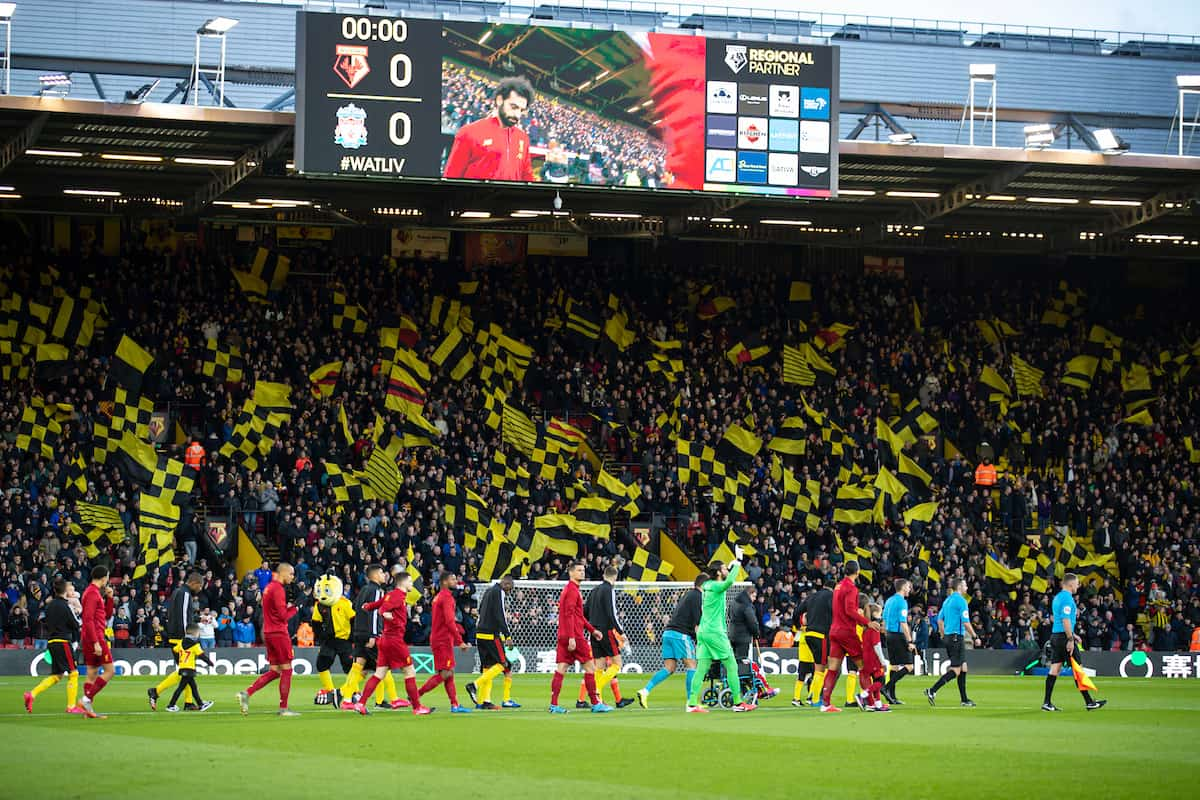WATFORD, ENGLAND - Saturday, February 29, 2020: Liverpool during the FA and Watford players walk out before the Premier League match between Watford FC and Liverpool FC at Vicarage Road. (Pic by David Rawcliffe/Propaganda)