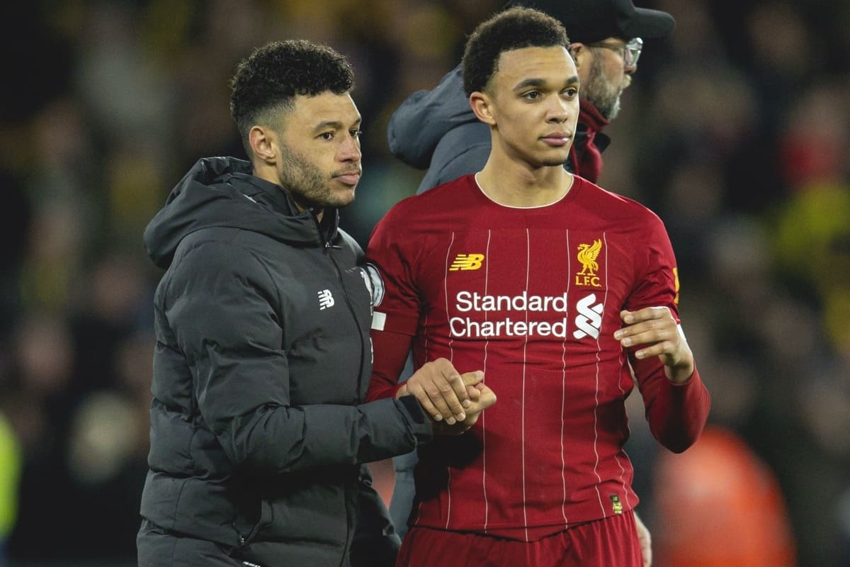 WATFORD, ENGLAND - Saturday, February 29, 2020: Liverpool's Alex Oxlade-Chamberlain (L) and Trent Alexander-Arnold after the FA Premier League match between Watford FC and Liverpool FC at Vicarage Road. Watford won 3-0. (Pic by David Rawcliffe/Propaganda)