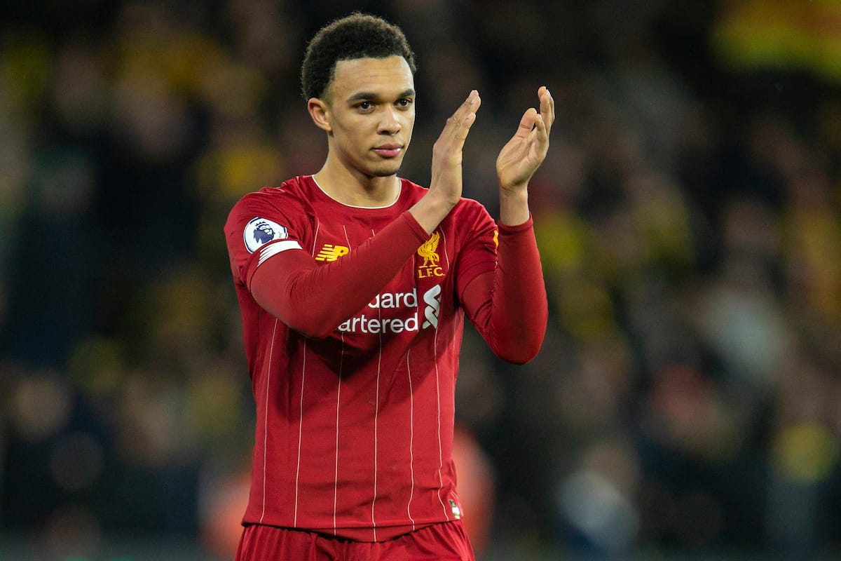 WATFORD, ENGLAND - Saturday, February 29, 2020: Liverpool's Trent Alexander-Arnold after the FA Premier League match between Watford FC and Liverpool FC at Vicarage Road. Watford won 3-0. (Pic by David Rawcliffe/Propaganda)