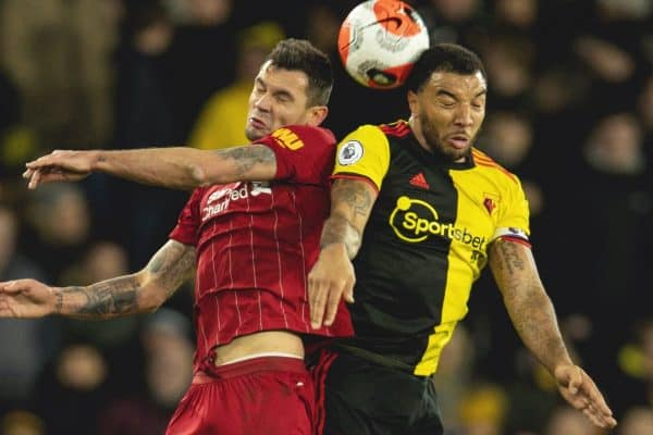 WATFORD, ENGLAND - Saturday, February 29, 2020: Liverpool's Dejan Lovren (L) challenges for a header with Watford's captain Troy Deeney during the FA Premier League match between Watford FC and Liverpool FC at Vicarage Road. (Pic by David Rawcliffe/Propaganda)