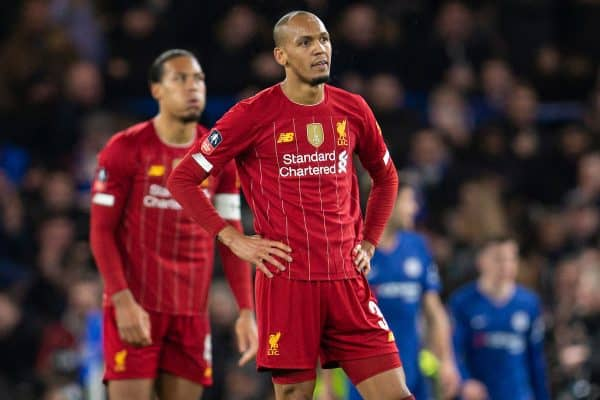 LONDON, ENGLAND - Tuesday, March 3, 2020: Liverpool's Fabio Henrique Tavares 'Fabinho' looks dejected as Chelsea score a second goal during the FA Cup 5th Round match between Chelsea FC and Liverpool FC at Stamford Bridge. (Pic by David Rawcliffe/Propaganda)