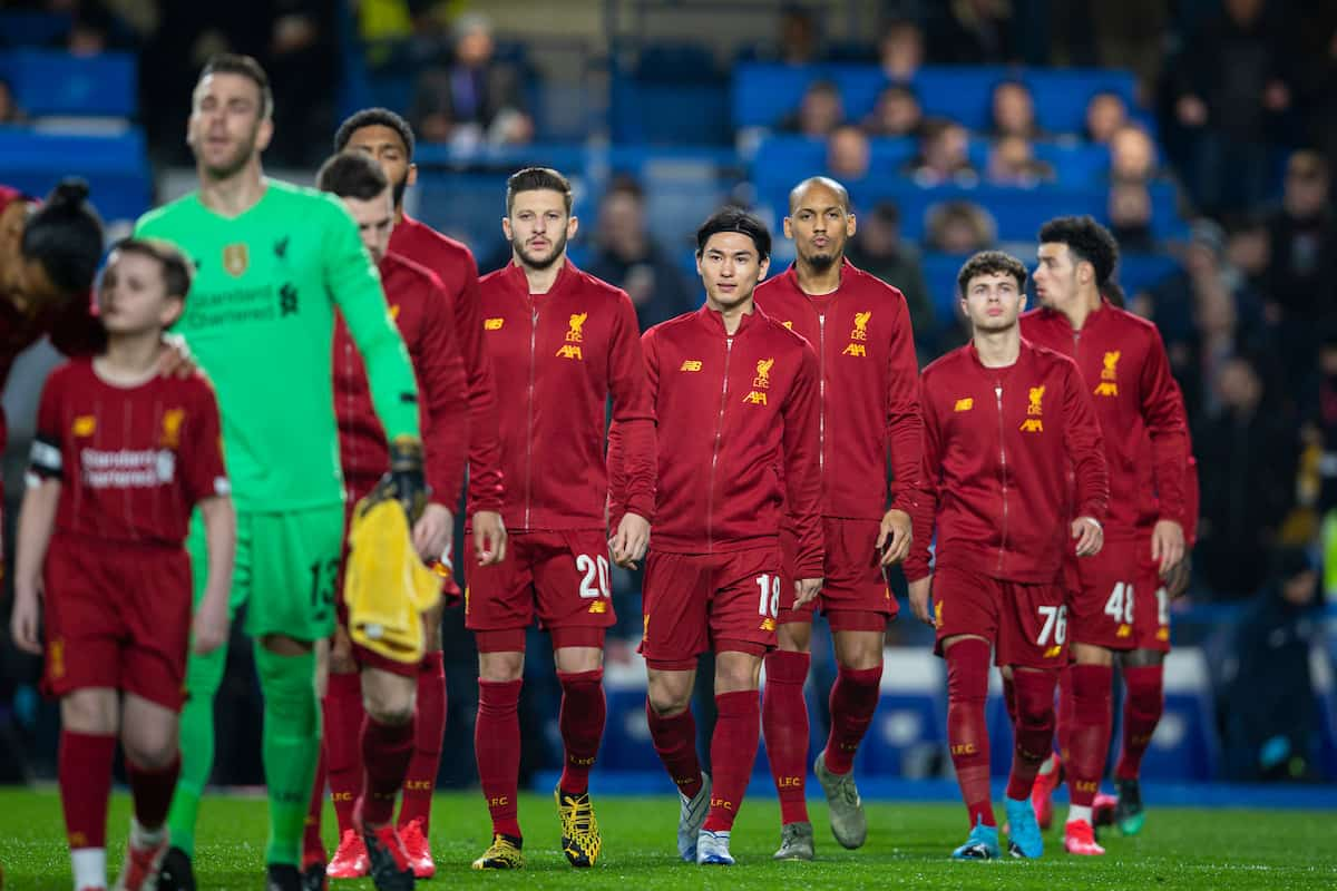 LONDON, ENGLAND - Tuesday, March 3, 2020: Liverpool's Takumi Minamino and his team-mates walk out before the FA Cup 5th Round match between Chelsea FC and Liverpool FC at Stamford Bridge. (Pic by David Rawcliffe/Propaganda)