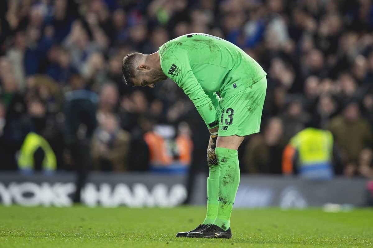 LONDON, ENGLAND - Tuesday, March 3, 2020: Liverpool's goalkeeper Adrián San Miguel del Castillo looks dejected as Chelsea's score the opening goal during the FA Cup 5th Round match between Chelsea FC and Liverpool FC at Stamford Bridge. (Pic by David Rawcliffe/Propaganda)