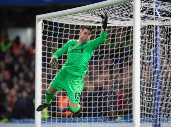 LONDON, ENGLAND - Tuesday, March 3, 2020: Liverpool's goalkeeper Adrián San Miguel del Castillo during the FA Cup 5th Round match between Chelsea FC and Liverpool FC at Stamford Bridge. (Pic by David Rawcliffe/Propaganda)