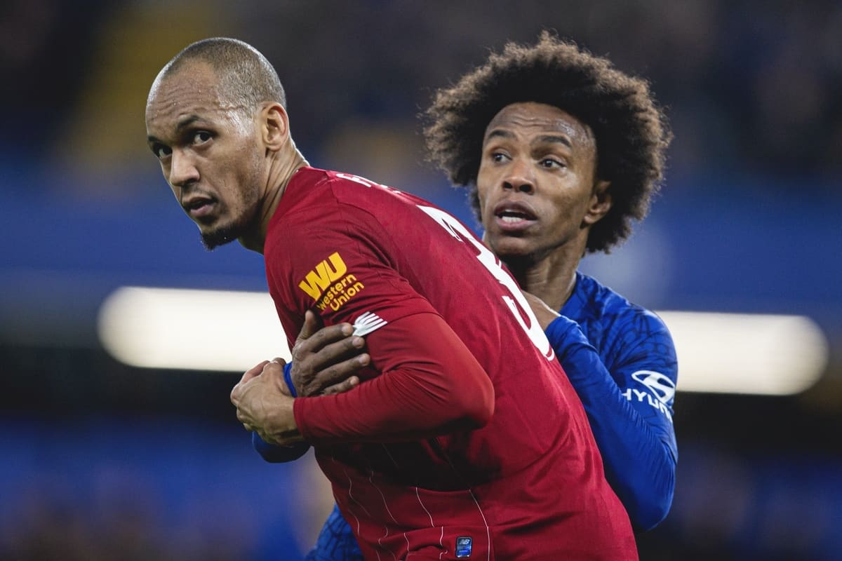 LONDON, ENGLAND - Tuesday, March 3, 2020: Liverpool's Fabio Henrique Tavares 'Fabinho' (L) and Chelsea's Willian Borges da Silva during the FA Cup 5th Round match between Chelsea FC and Liverpool FC at Stamford Bridge. (Pic by David Rawcliffe/Propaganda)